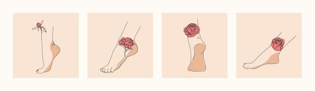 Eleganti piedi femminili con fiori gambe e talloni umani e le rose e le peonie raffigurate su di essi