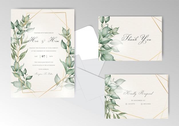 Modello stabilito dell'invito di nozze di disposizione floreale elegante