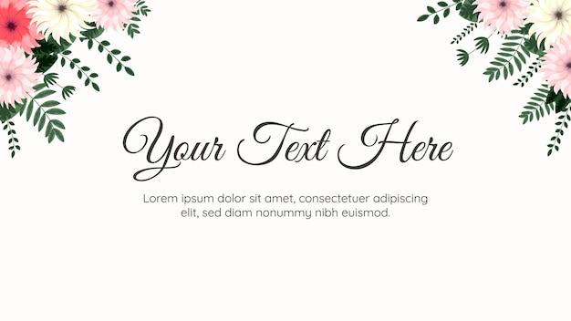 Elegante modello di sfondo floreale con fiori morbidi foglie di viti adatte per banner web testo
