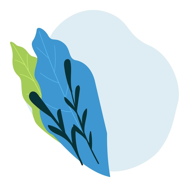 Elegante striscione floreale con fogliame e foglie, fogliame e vegetazione lussureggiante. teneri ramoscelli e rami in bouquet, fioriture stagionali e fioriture primaverili o estive. vettore in stile piatto illustrazione