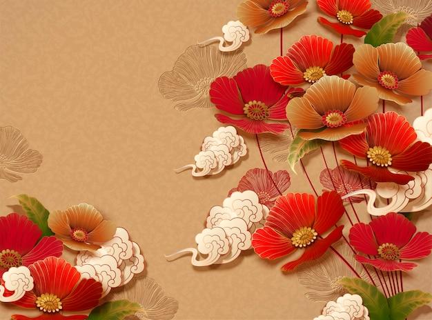 Elegante disegno floreale su sfondo di colore dorato