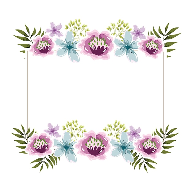 Elegante cornice floreale fiori acquerello