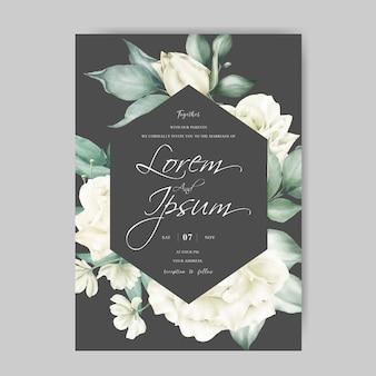 Modello di carta di invito matrimonio elegante cornice floreale