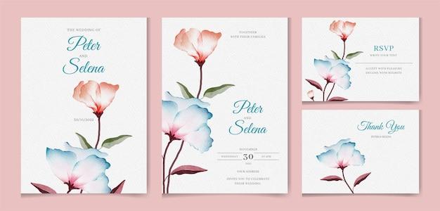 Elegante set di inviti di nozze disegnati a mano ad acquerello con foglie verdi e floreali