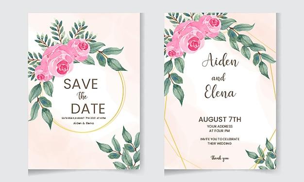 Modello di carta di invito floreale elegante con bella rosa