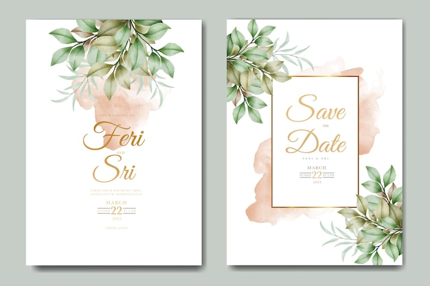 Elegante biglietto d'invito per matrimonio ad acquerello con foglie floreali