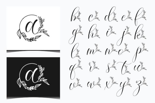 Modello di logo elegante lettera floreale
