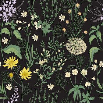 Elegante motivo floreale senza soluzione di continuità con splendidi fiori selvatici disegnati a mano, tenere erbe fiorite e piante erbacee su sfondo nero.
