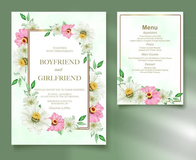 Acquerello elegante della carta di nozze del modello floreale