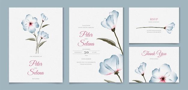 Insieme dell'invito di nozze disegnato a mano dell'acquerello floreale elegante