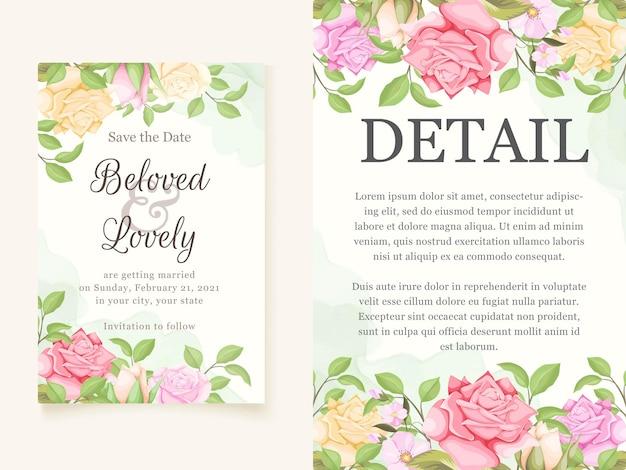 Modelli colorati di carta di invito matrimonio floreale elegante