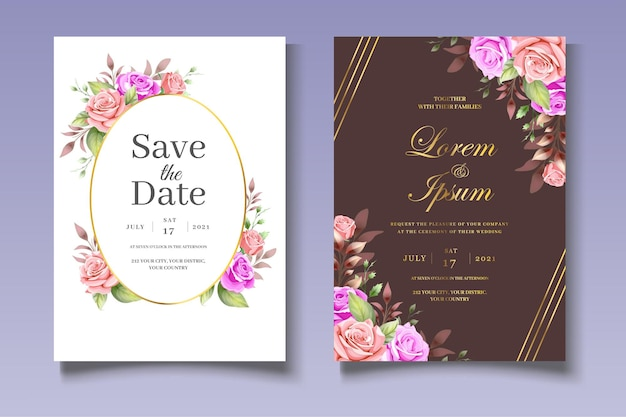Elegante set di biglietti d'invito per matrimonio floreale