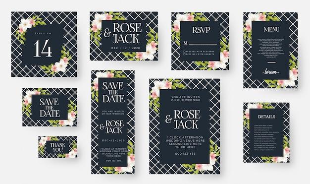 Modello di carta di invito floreale elegante matrimonio impostato con fiori e foglie dell'acquerello