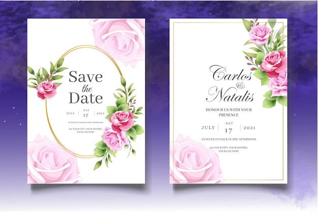 Elegante modello di biglietto d'invito per matrimonio floreale