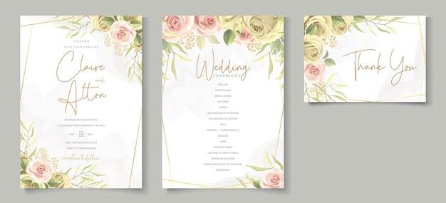Insieme floreale elegante di disegno dell'invito di nozze