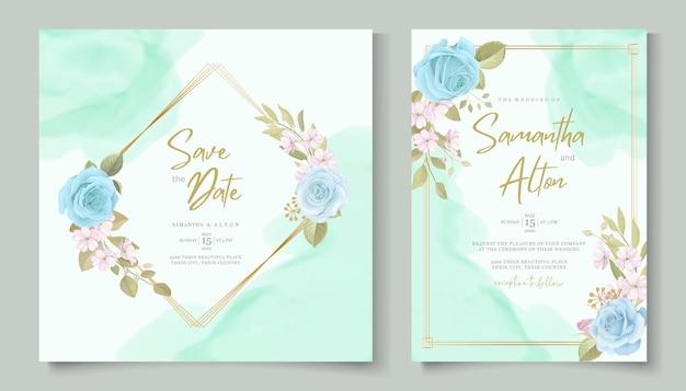 Elegante design floreale invito a nozze con bellissimi fiori