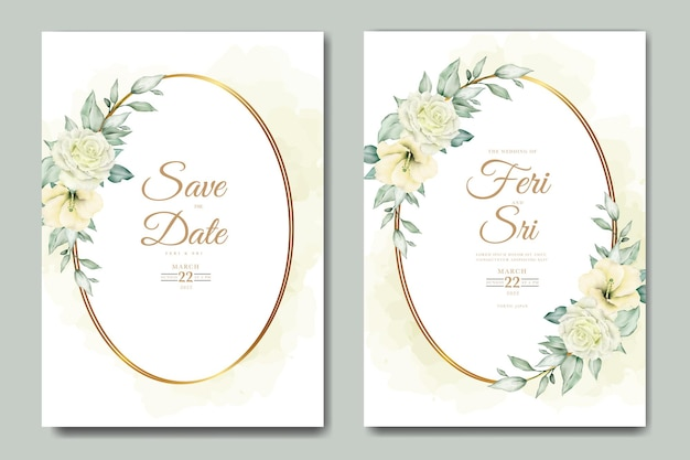 Elegante biglietto d'invito per matrimonio ad acquerello con fiori e foglie