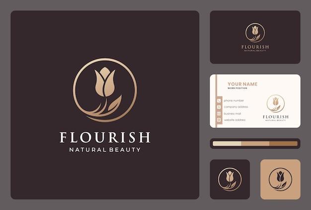 Elegante design del logo floreale per salone di bellezza, cosmico, cura della pelle.