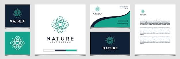Elegante fiore logo design linea arte card