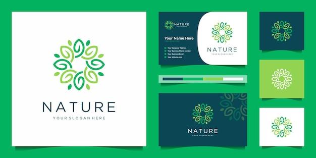 Elegante fiore logo design linea arte