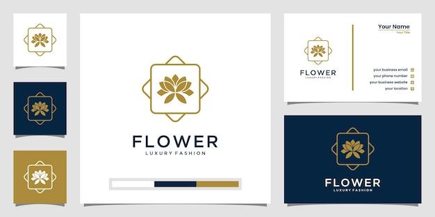 Elegante fiore rosa bellezza, yoga e spa. design del logo e biglietto da visita