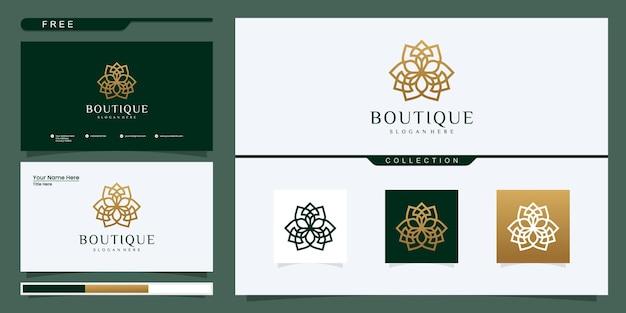 Modello di logo del negozio di fiori elegante.