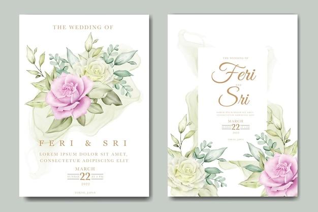 Elegante modello di biglietto d'invito per matrimonio ad acquerello con fiori e foglie