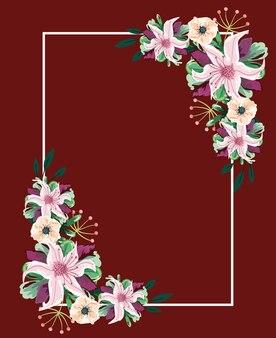 Elegante cornice di fiori ad acquerello decorazione