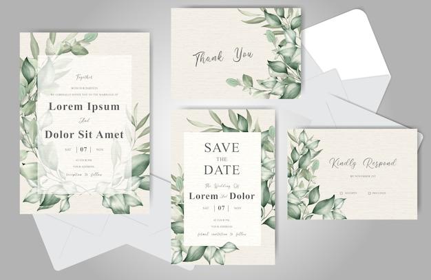 Modello di carta di invito di nozze elegante fogliame impostato con ornamento floreale bella cornice