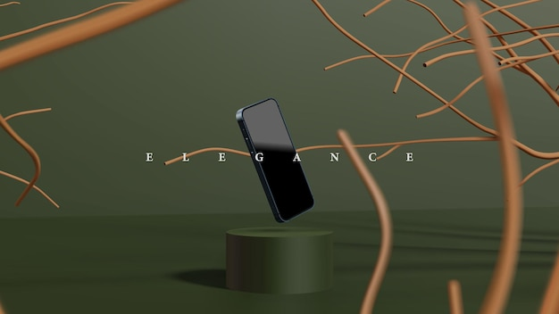 Elegante scena del podio dei rami della foresta per la presentazione o la presentazione del prodotto. smartphone moderno 3d