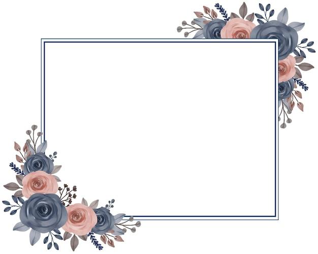 Elegante cornice con bouquet di rose blu e pesca