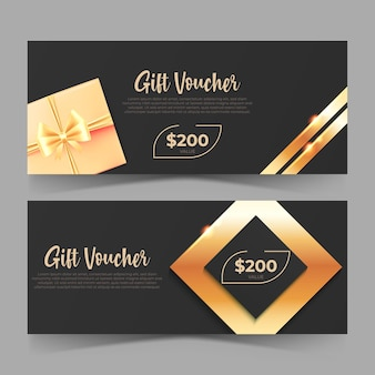 Elegante design del buono regalo con carta regalo di lusso in stile dorato per la promozione