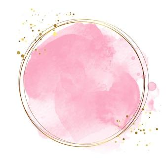 Elegante cornice dorata con acquerello rosa splash