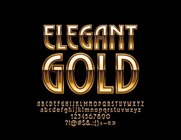 Elegante alfabeto di lusso in oro. grande carattere in stile retrò. lettere, numeri e simboli chic