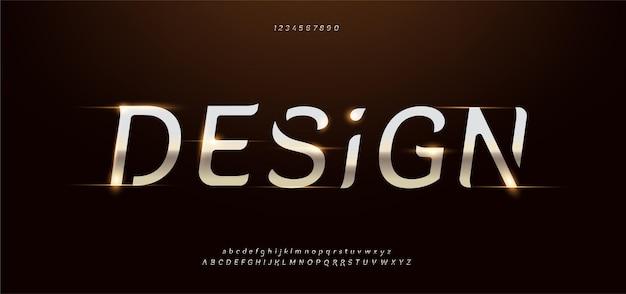 Set di caratteri alfabeto moderno in metallo dorato elegante.