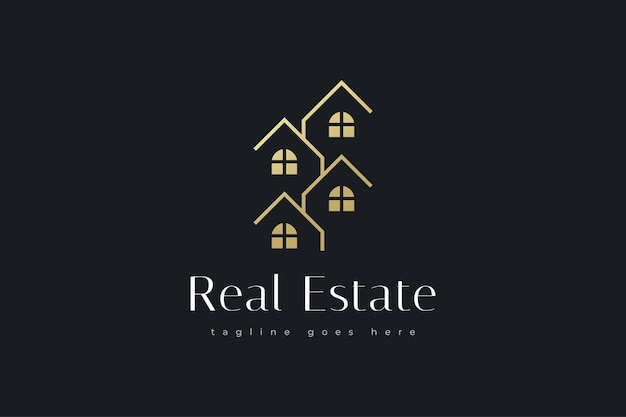 Elegante design del logo immobiliare in oro