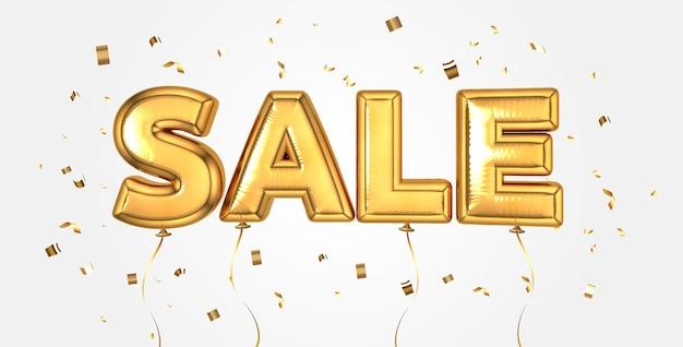 Elegante sfondo di palloncini celebrazione vendita oro per banner negozio, pubblicità, shopping. lettere di testo in vendita con coriandoli dorati scintillanti, vendita, banner web.