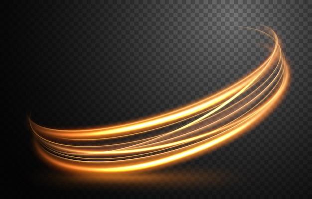 Elegante linea di luce ondulata dorata con un'illustrazione vettoriale di un motivo trasparente