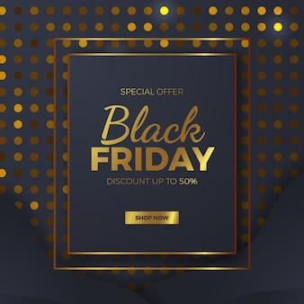 Pacchetto di texture elegante punto dorato per modello di banner offerta vendita venerdì nero