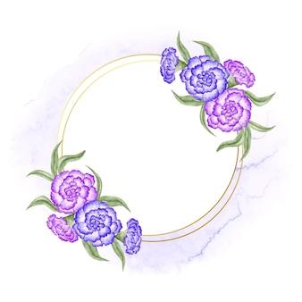 Elegante cornice dorata con fiori blu e viola