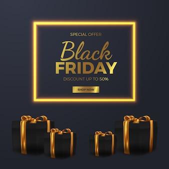 Modello di banner offerta vendita venerdì nero elegante lampada bagliore dorato con stile regale di lusso