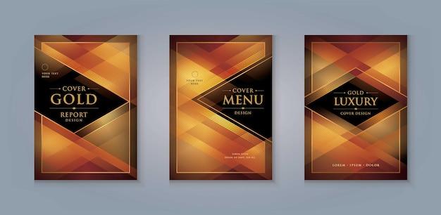 Elegante modello di copertina del menu dorato design di carta di invito di lusso triangolo dorato astratto