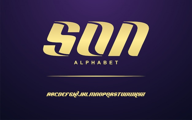 Set di caratteri elegante alfabeto moderno dorato