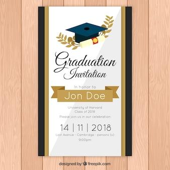 Modello di invito di laurea elegante con stile dorato