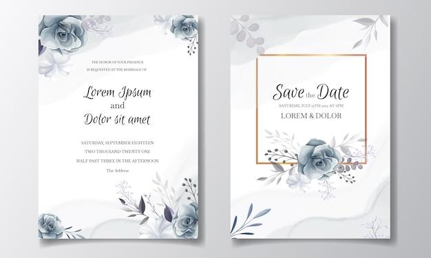 Modello di carta di invito matrimonio floreale grigio elegante con foglie d'argento e cornice dell'acquerello