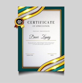 Elegante modello di conseguimento del certificato di diploma verde
