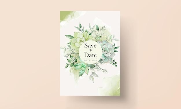 Elegante biglietto d'invito per matrimonio floreale ad acquerello verde