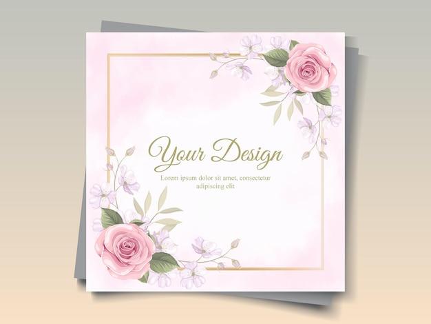 Design elegante biglietto di auguri con ornamenti di rose rosa