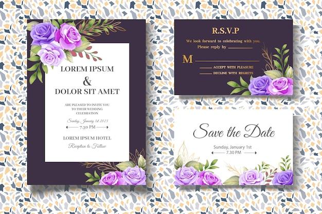 Modello di carta di invito botanico disegno a mano elegante