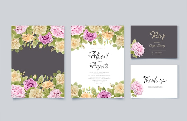 Disegno floreale invito a nozze disegno a mano elegante